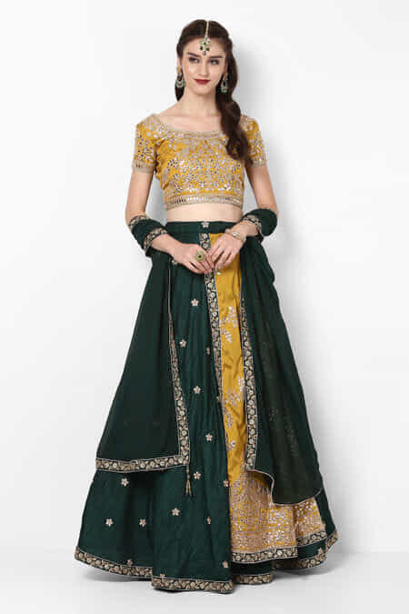 65b4fa0c20 Lehenga. Clear All. weaves-of-wonder-mehendi-green-gota-embroidered-blouse-