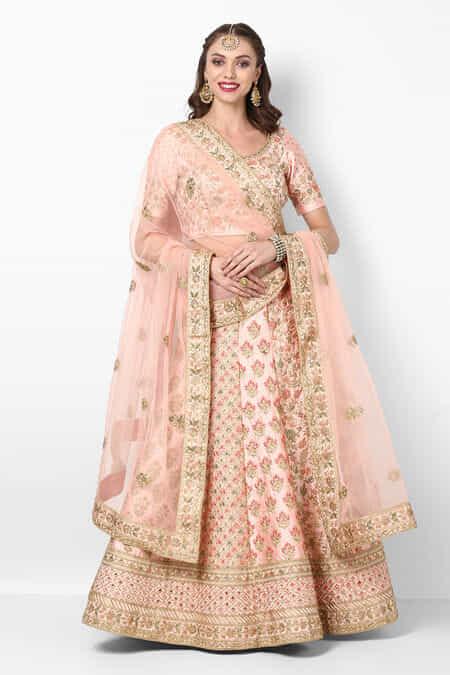 43235a0831 Peach Bridal Lehenga for Wedding, Peach Color Bridal Lehenga Online ...