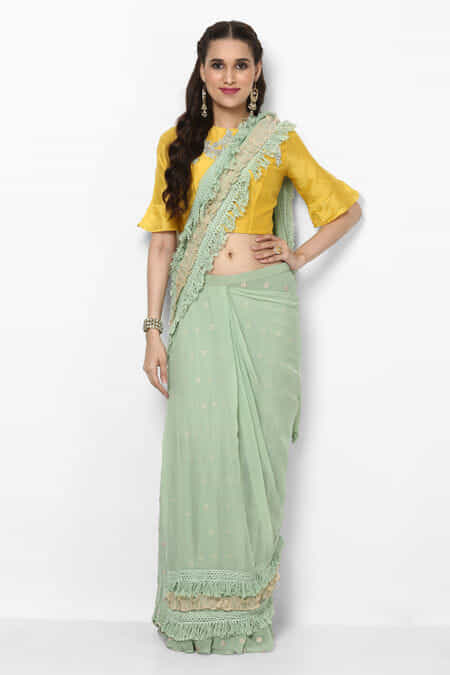 a52f5a000429fa zayah-fawn-green-fringed-pre-stitched-saree-with-