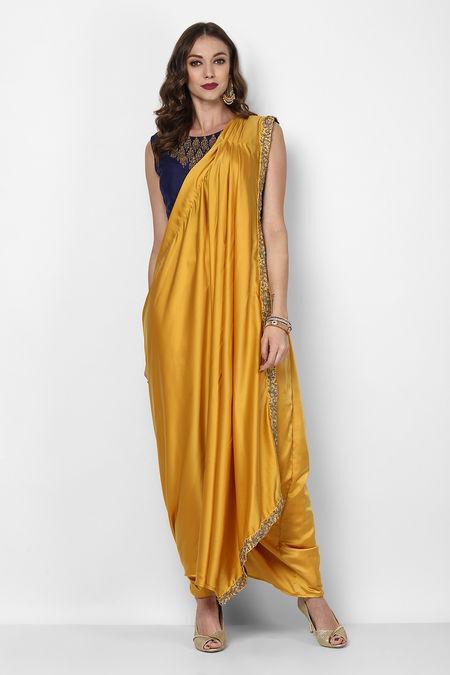 9e52c56878 niyoosh-yellow-pre-stitched-saree-with-navy-blue-