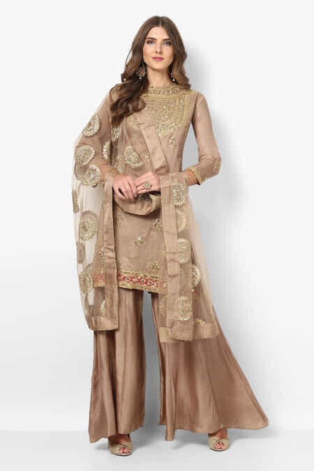 c780298d8fcf38 CUSTOM FIT Gently Used weaves-of-wonder-taupe-brown-embroidered-kurta-with-