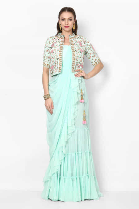 6ac205e5ffb zayah-mint-green-ruffled-saree-with-blouse-embroidered-