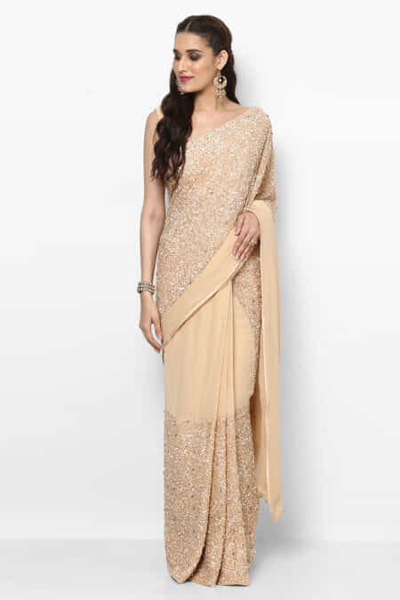 73e52a3434 shruti-sheth-couture-cream-embroidered-saree-with-blouse