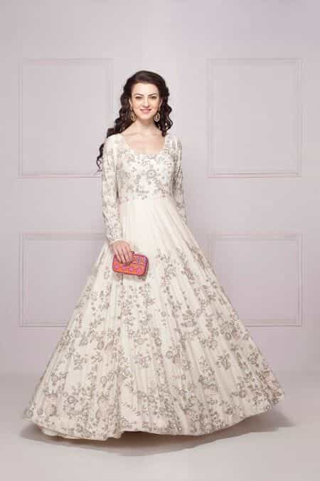 rent dresses & evening gowns rent for party, cocktail, brunch Wedding Dress Rental Online India kalki white gown adorn in 3d flower pearl wedding dress rental online india