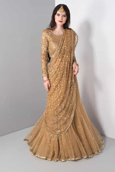 Niyoosh Gold Shimmer Lehenga Set