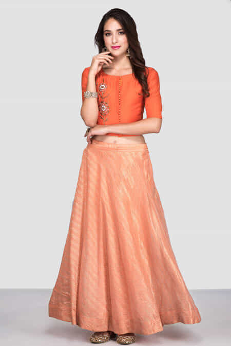 2199a8c663 CUSTOM FIT Gently Used zayah-orange-embroidered-crop-top-with-flared-skirt