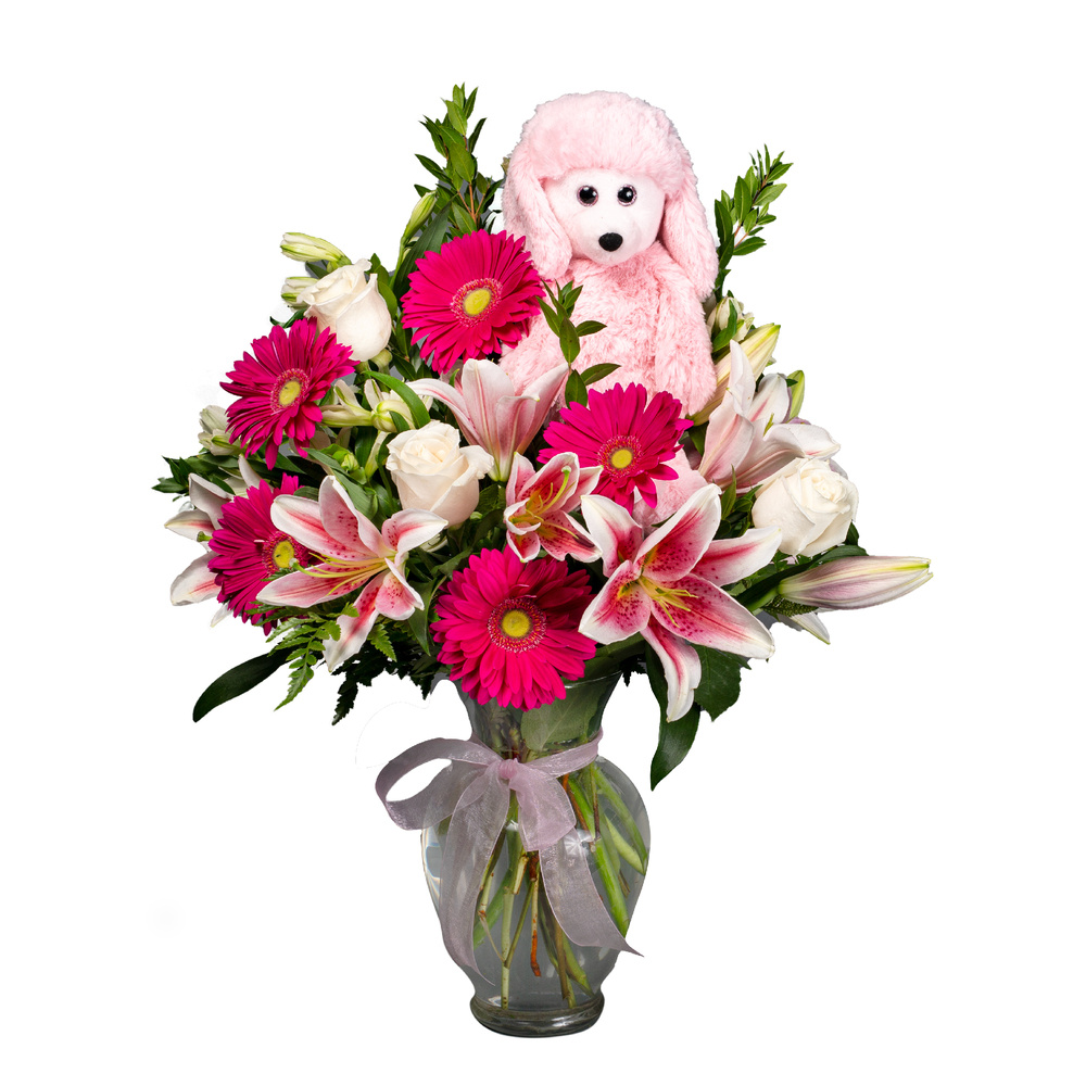 Splendid Pink Gerbs And Lilies - Floral Arrangement