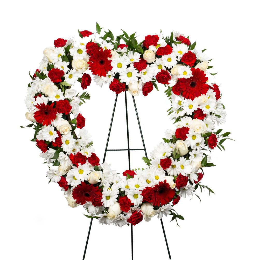 Red Sympathy Heart Wreath
