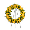 Friendship Never Ends Wreath with Golden Yellow Roses, Sunny Yellow Gerbera Daisies and Green and Yellow Mums