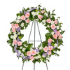 Sweet Dreams Sympathy Wreath - Soft Pink Carnations and White Mums accented with a Purple Ribbon