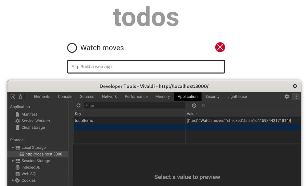 Chrome dev tools showing local storage section