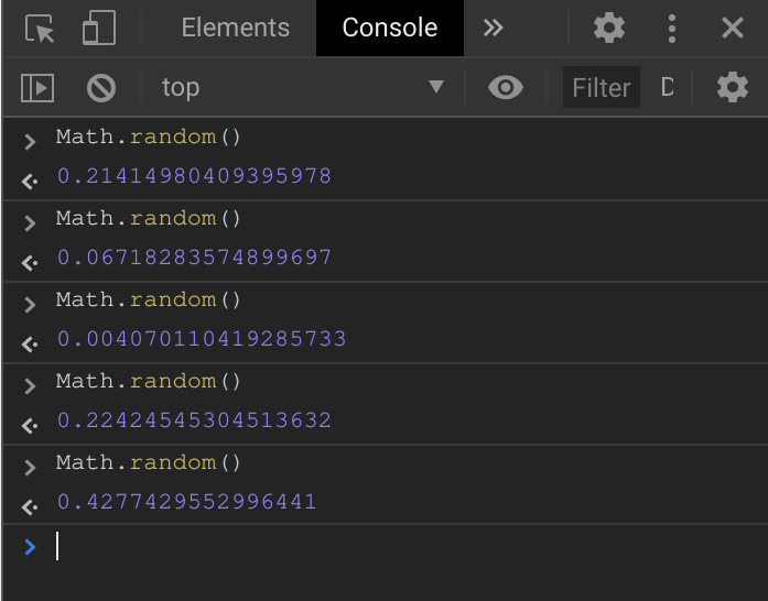 Math.random console demonstration