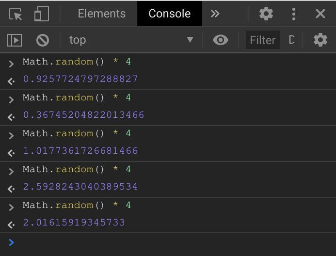 Math.random action in the console