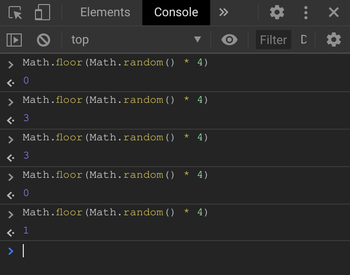 Math.floor demonstration in the console