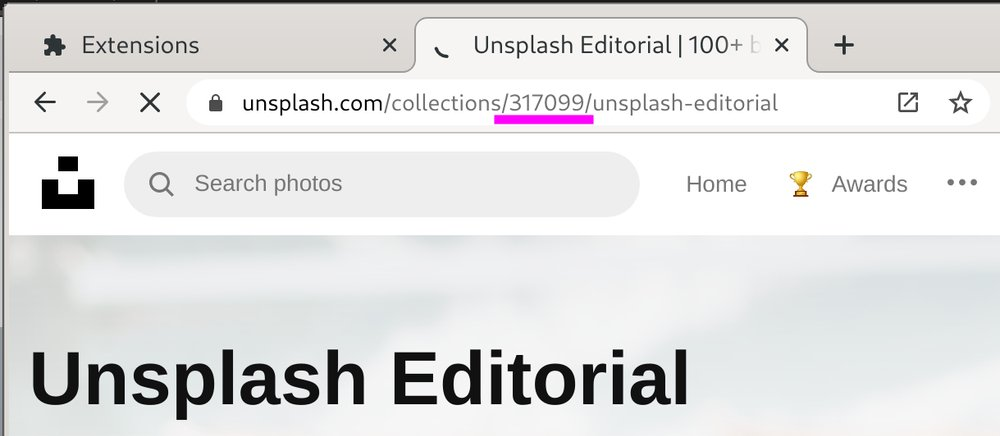 Highlighted collection ID in Unsplash URL