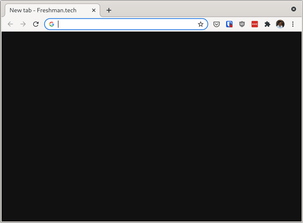 Screenshot of new tab page in Chrome