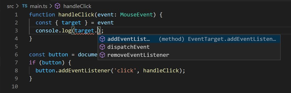 VS Code showing autocompletion options for EventTarget type