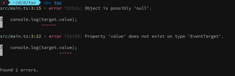 TypeScript compiler error message