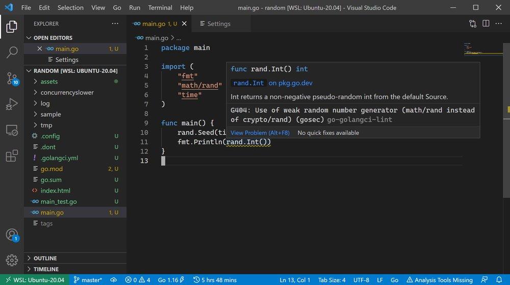 golangCI-Lint in action in Visual Studio Code