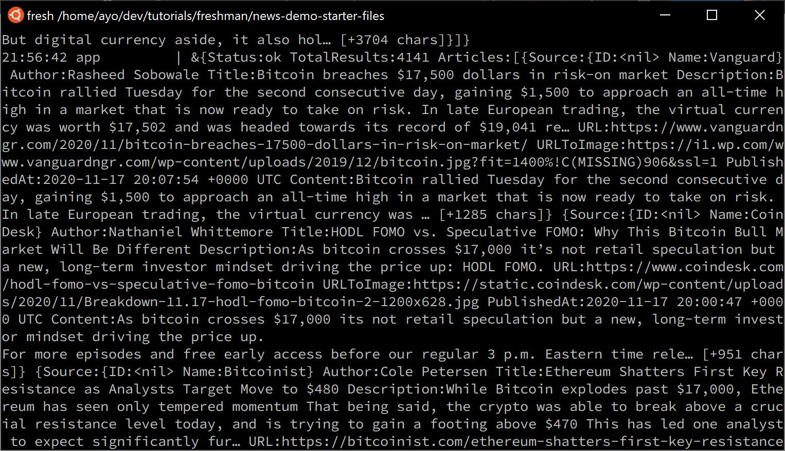 Ubuntu terminal showing output from NewsAPI.org