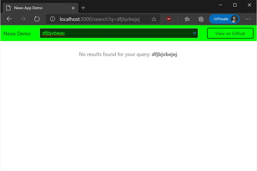 Browser showing no results found message