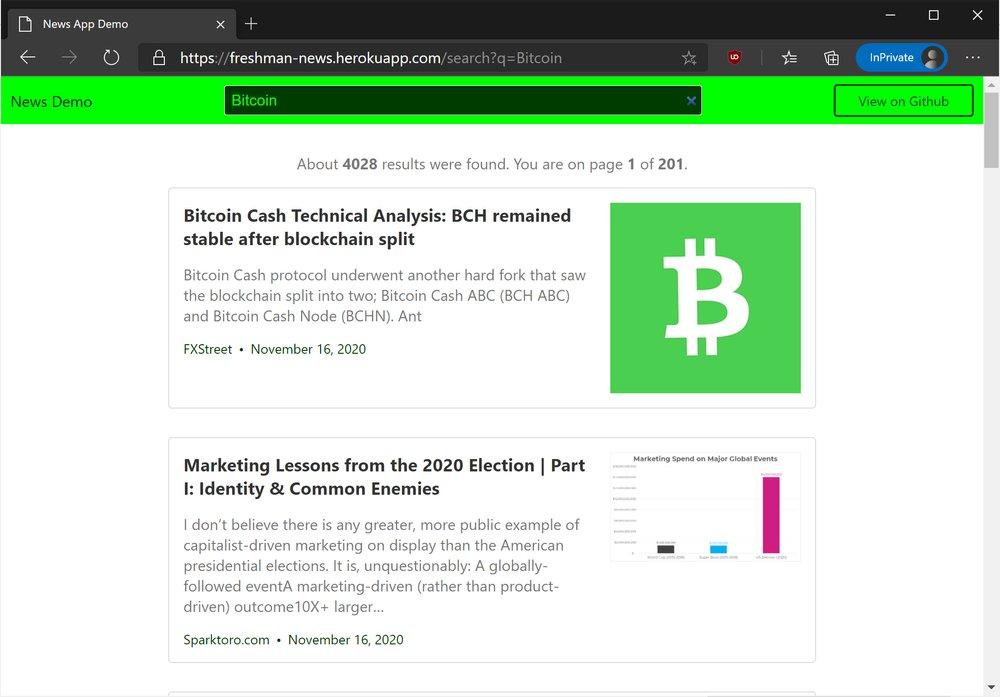 News application demo
