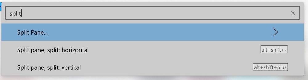Windows terminal showing command palette