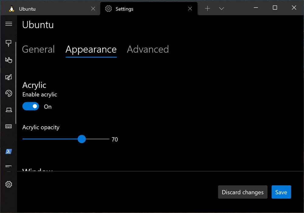 Windows Terminal showing acrylic settings