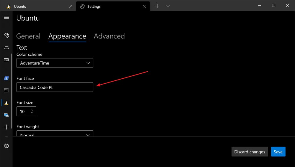 Windows terminal profile font setting