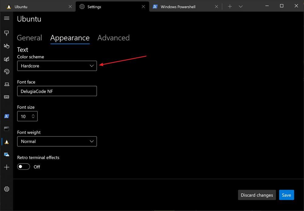 Windows terminal showing profile colour scheme