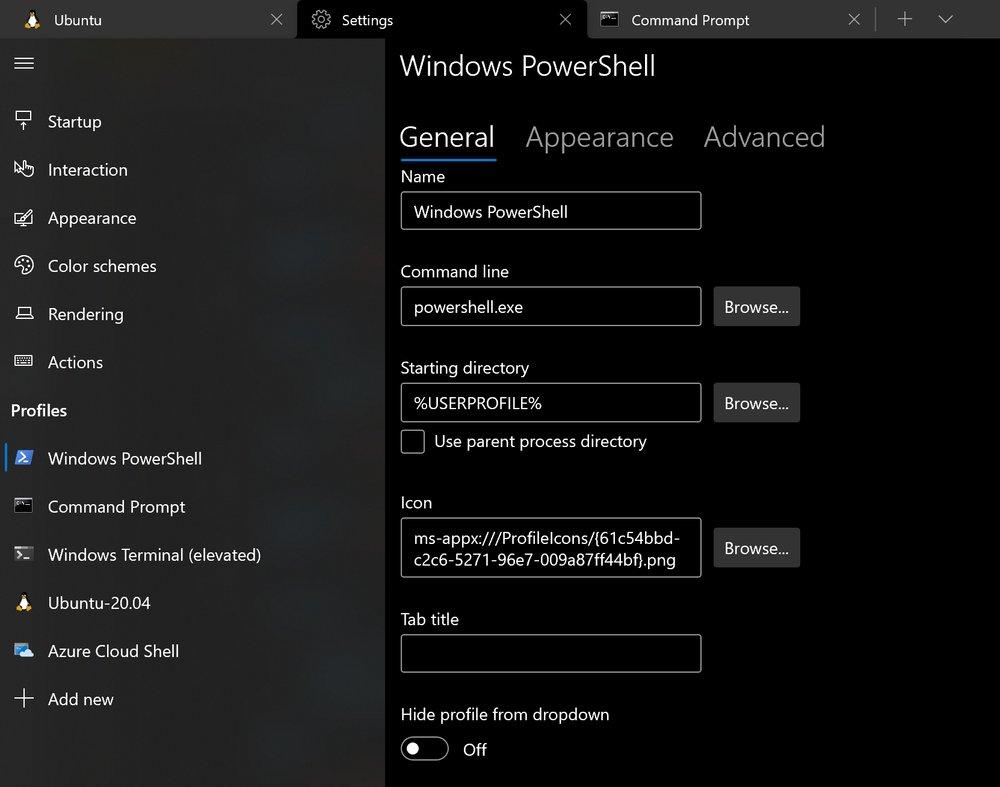 Windows terminal settings ui showing profile settings