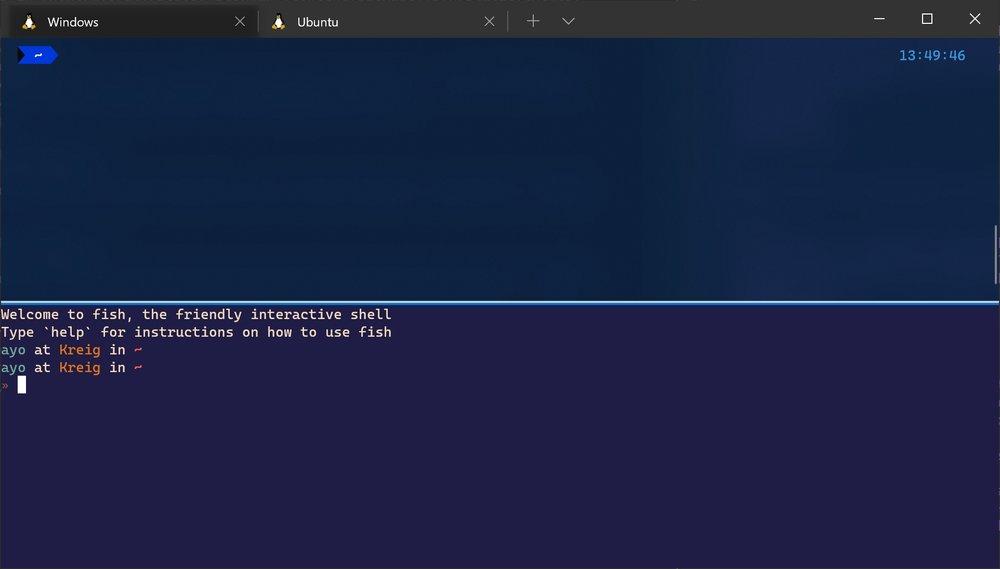Windows Terminal showing split panes