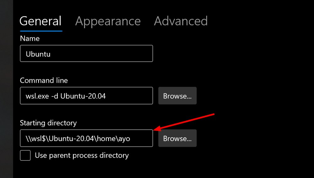 Windows terminal settings UI showing starting directory for a WSL distribution