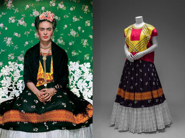 Frida usava saias longas e rodadas para esconder a deformidade de uma de suas pernas.