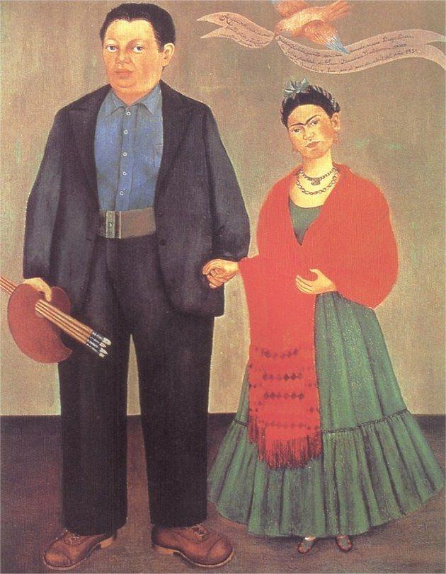 O quadro Frida Kahlo e Diego Rivera do famoso casal mexicano foi pintado em 1931.