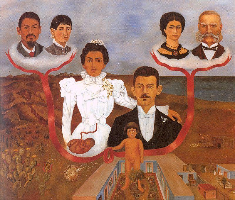 O quadro Meus avós, meus pais e eu, de Frida Kahlo, foi pintado em 1936.
