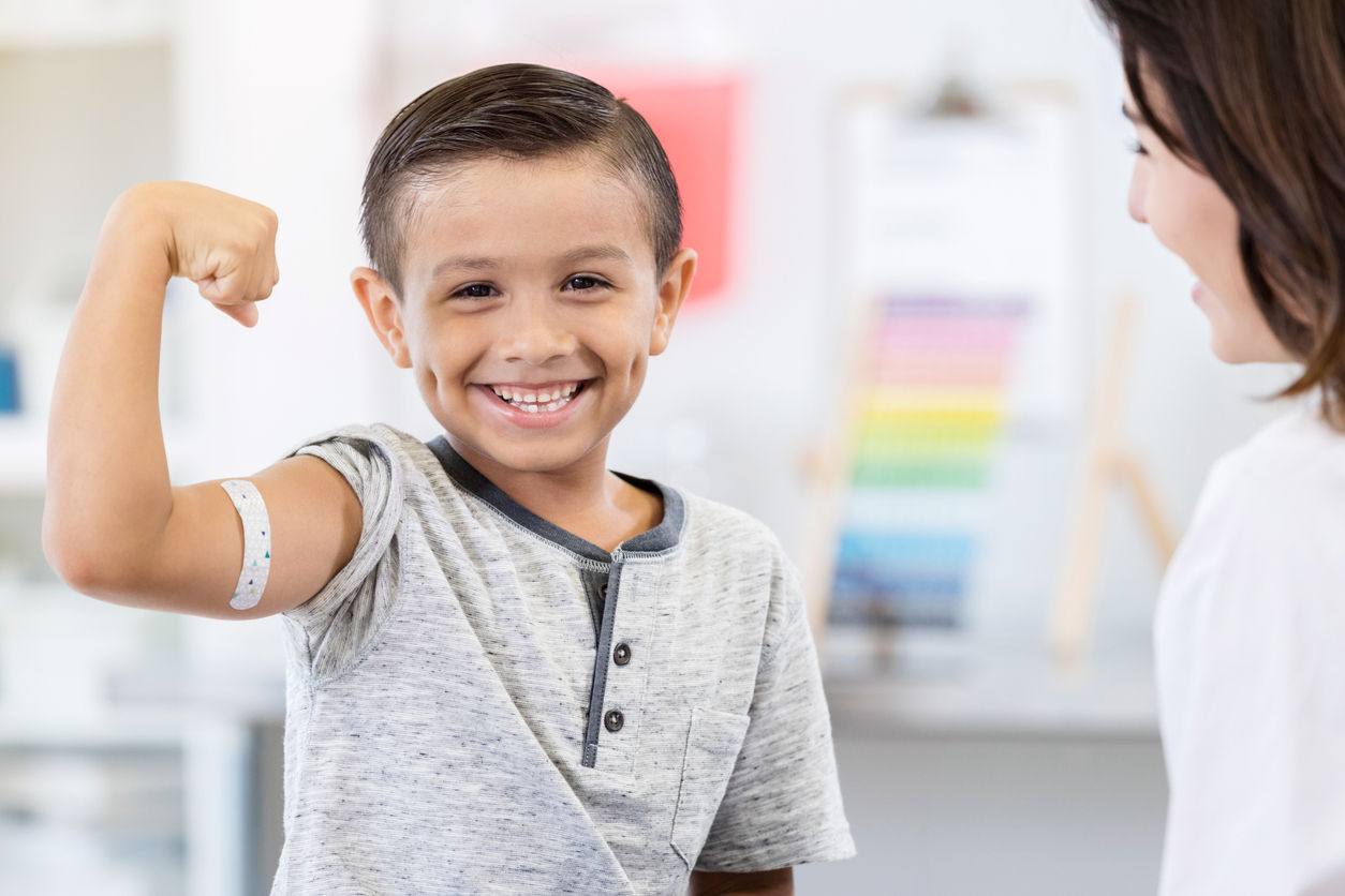 health care: young boy at doctors office