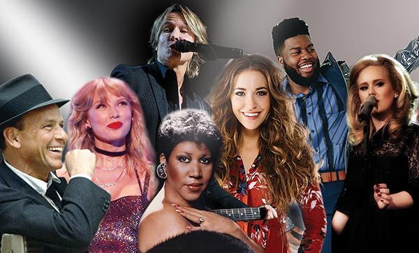 popular artists like Frank Sinatra, Taylor Swift, Keith Urban, Aretha Franklin, Lauren Dagle and others.