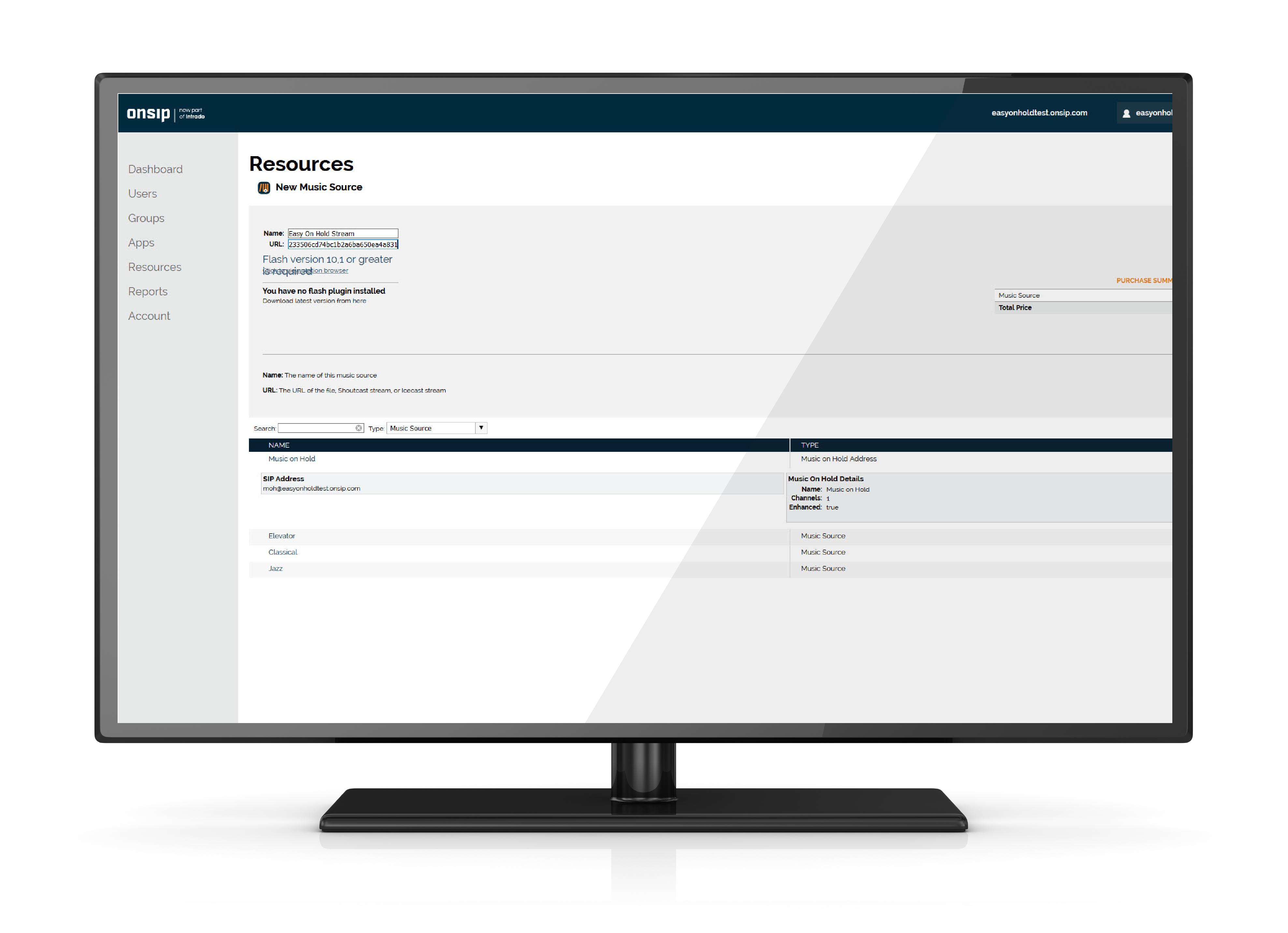 Easy On Hold Onsip Streaming MOH integration - Onsip admin screenshot.