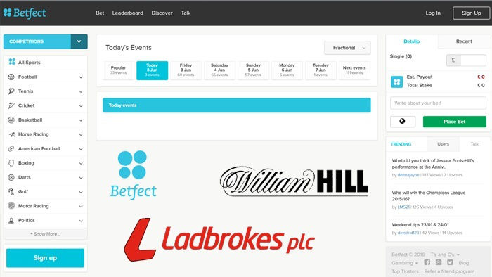 William Hill and Ladbrokes Live on Betfect Social Sports