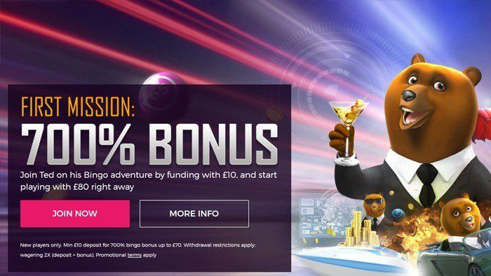 700% Deposit Bonus at Ted Bingo!
