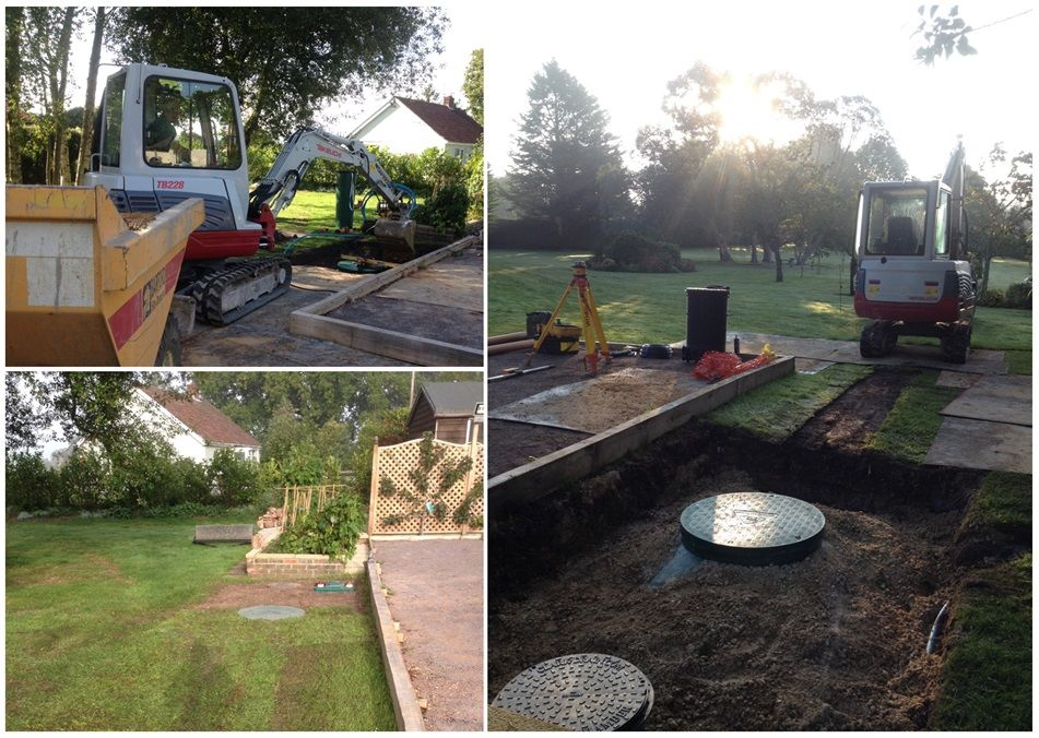 montage-image-of-an installation-of-a-below-ground-WPL-Diamond-dms3-small-domestic-wastewater-sewage-treatment-plant-for-off-mains-drainage-at-a-domestic-home.