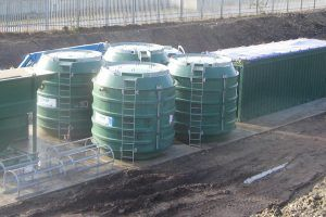 Temporary treatment systems for large construction site