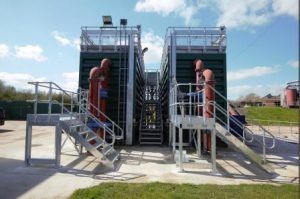 image of a WPL steel NSAF modular wastewater treatment plant installed at Danesmoore wastewater treatment works