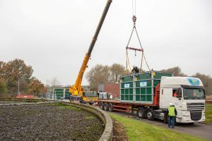 Image of a modular WPL Hybrid-SAF™ (submerged aeated filtration) being crained off the back of a lorry at Sandbach wastewater treatment works (WwTW) for United Utility