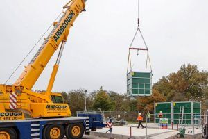 Image of Modular Hybrid SAF (submerged aeated filtration) for BOD and ammonia removal being installed at Sandbach