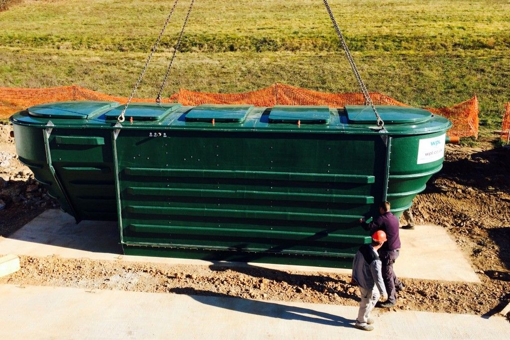 Image of the first HiPAF packaged sewage treatment unit ready for installation in Slovenia