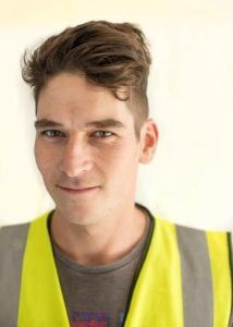 Ben Dearsley as Assembly worker for WPL waste water solutions at Waterlooville, Hampshire