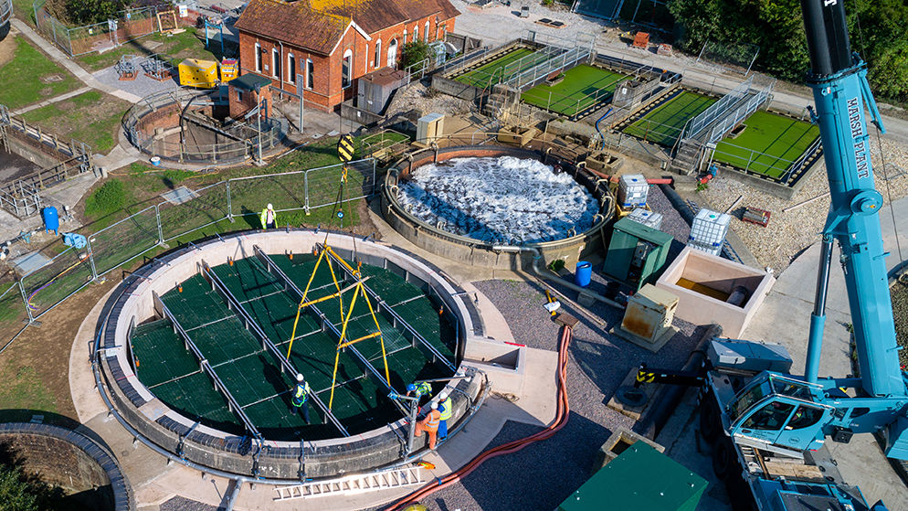 Ariel image showing the modular cell installation of WPL Hybrid-SAF technology (repurpose project) offering significant reductions in the high cost of rebuilding infrastructure, size of footprint & energy consumption