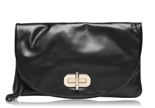 Leather Turnlock Clutch